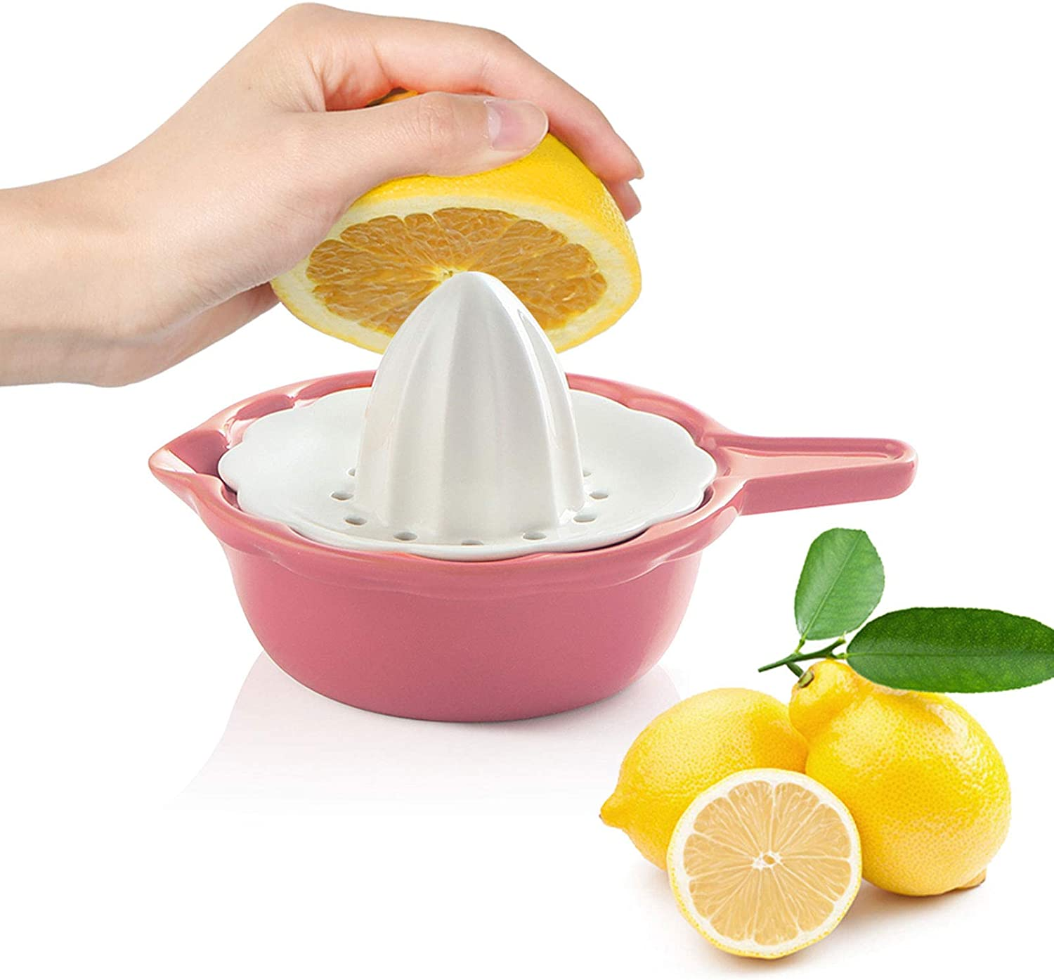 SWEEJAR Ceramic Citrus Juicer, Stoneware Lemon Squeezer with Detachable Bowl, 7 Ounce Manual Fruit Reamer,(Pink)