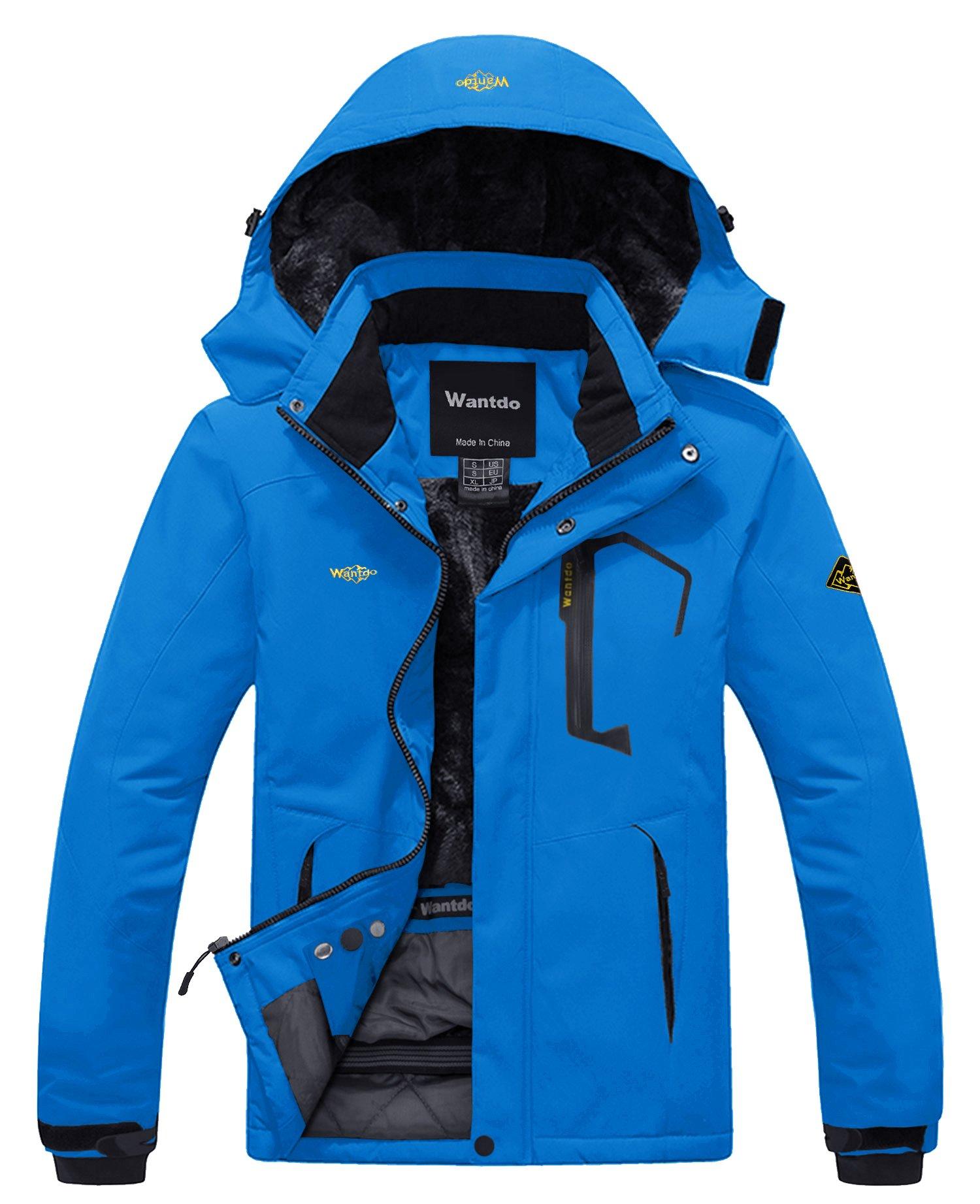 Wantdo Men's Waterproof Fleece Ski Jacket Windproof Rain Jacket Acid Blue S