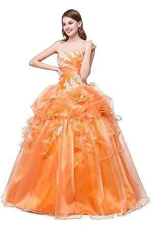 Cloverdresses Ball Gowns Quinceanera Dresses Orange Ruched Flowers Applique Prom Dresses (2, Orange)