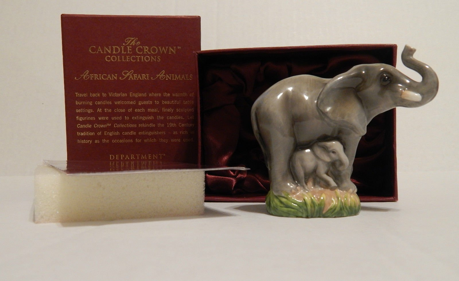 Department 56 African Safari Animals Elephant ''Learning To Play'' Candle Snuffer #56.50041