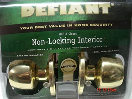 Defiant Hall and Closet Non-Locking interior Door Knob, Bright Brass