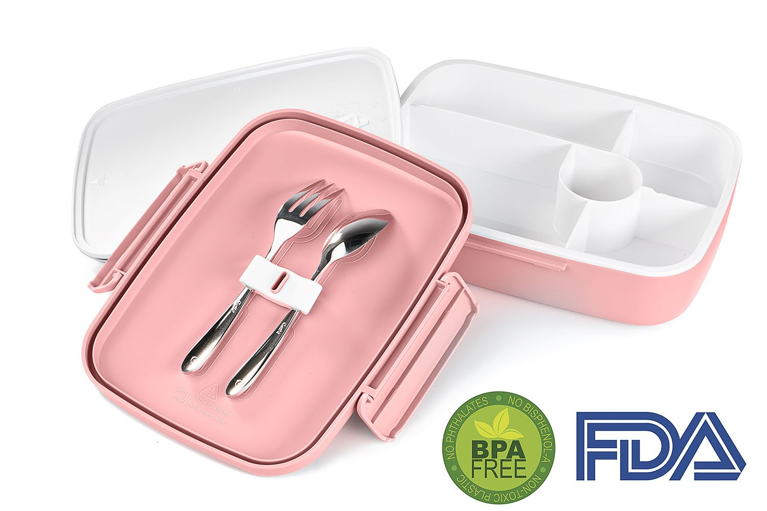 LS LifeStyle Bento Lunch Box 5 Compartments for Kids, Adults Leakproof, Microwave and Dishwasher Safe, BPA Free Container (Fork + Spoon Included) (Pink)
