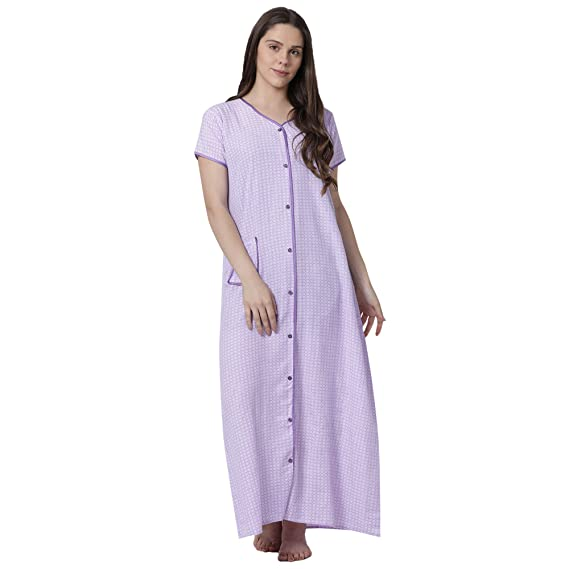 013ebb54d2 GOLDSTROMS Minelli Women s Cotton Fabric Front Button Open Night Gown  (Multi-Coloured) Blue  Amazon.in  Clothing   Accessories