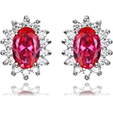 Jewelrypalace Gemstones Stone Birthstone Stud Earrings For Women 925 Sterling Silver Earrings For Girls Princess Diana Willia