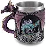 Purple Gothic Dragon Tankard Celtic Knot Work Mug w/Stainless Steel Insert