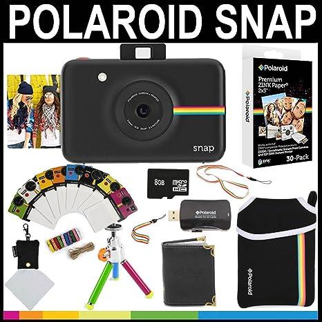 4fa91d8a20440 Polaroid - Cámara instantánea Snap (Negro) + Papel Zink 2x3 (Paquete de 30