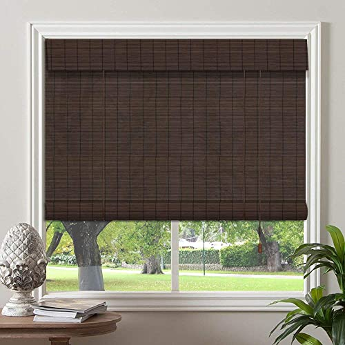 PASSENGER PIGEON Bamboo Window Blinds, Gently Filters Light into Room Roll Up Blinds Shades with Valance, 33 W x 60 L, Dark Brown