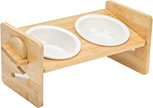 Elevated Bowls for Cats and Small Dogs, Adjustable Raised Pet Food Water Stand Feeder with 2 Ceramic Bowls and Anti Slip Feet, Perfect for Small Pet