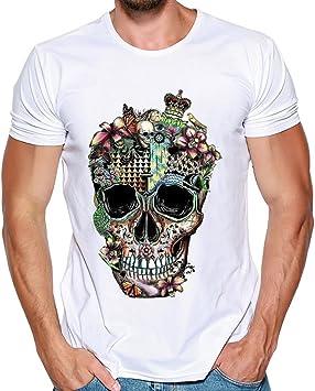 Camiseta de manga corta con estampado de calaveras para hombre, tallas S-3XL, de Wawer, blanco, small: Amazon.es: Deportes y aire libre