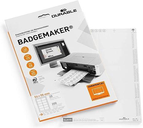 Durable Badgemaker - Pack de 200 cartulinas para impresión ...