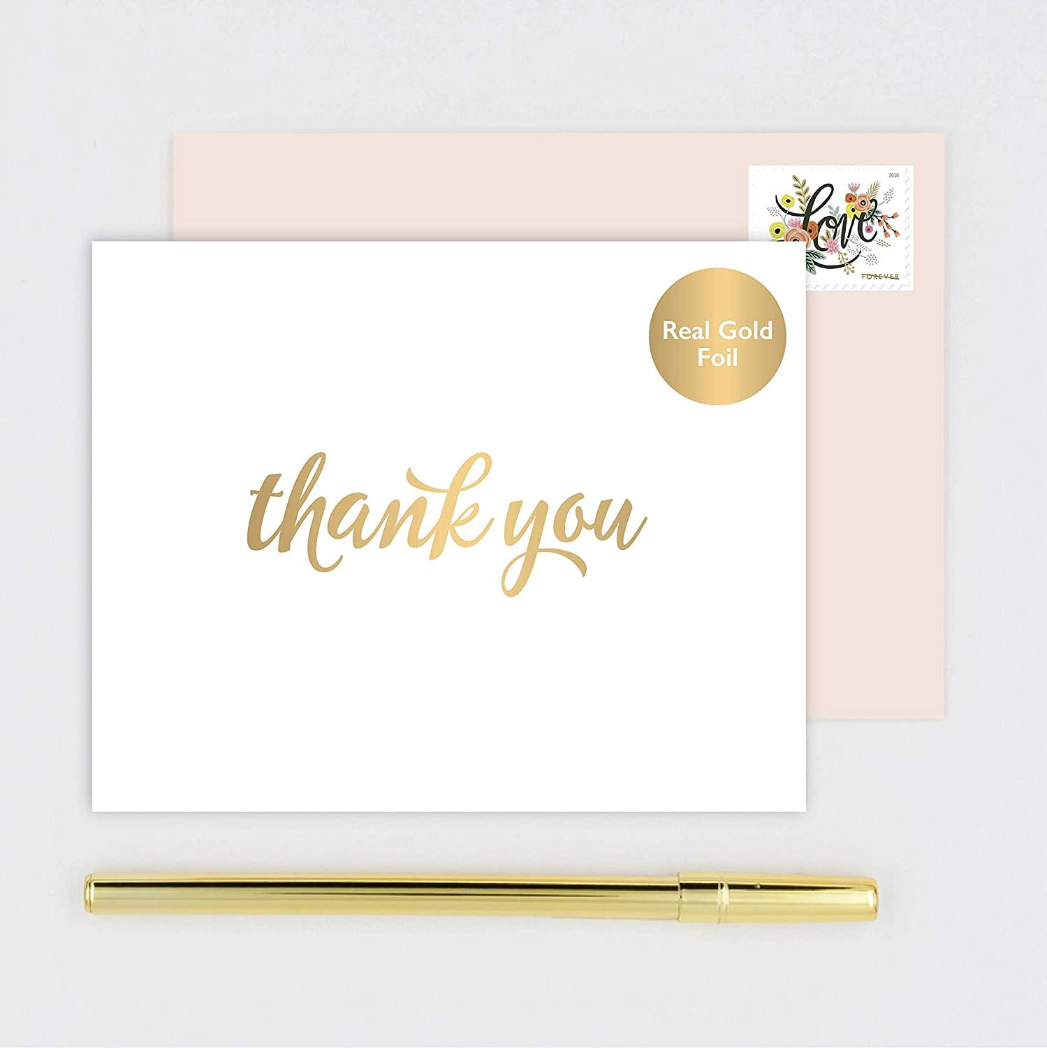 You note cards stationery handmade folded white notecards stamped with gold foil calligraphy boxed set of 10 with blush pink envelopes handmade