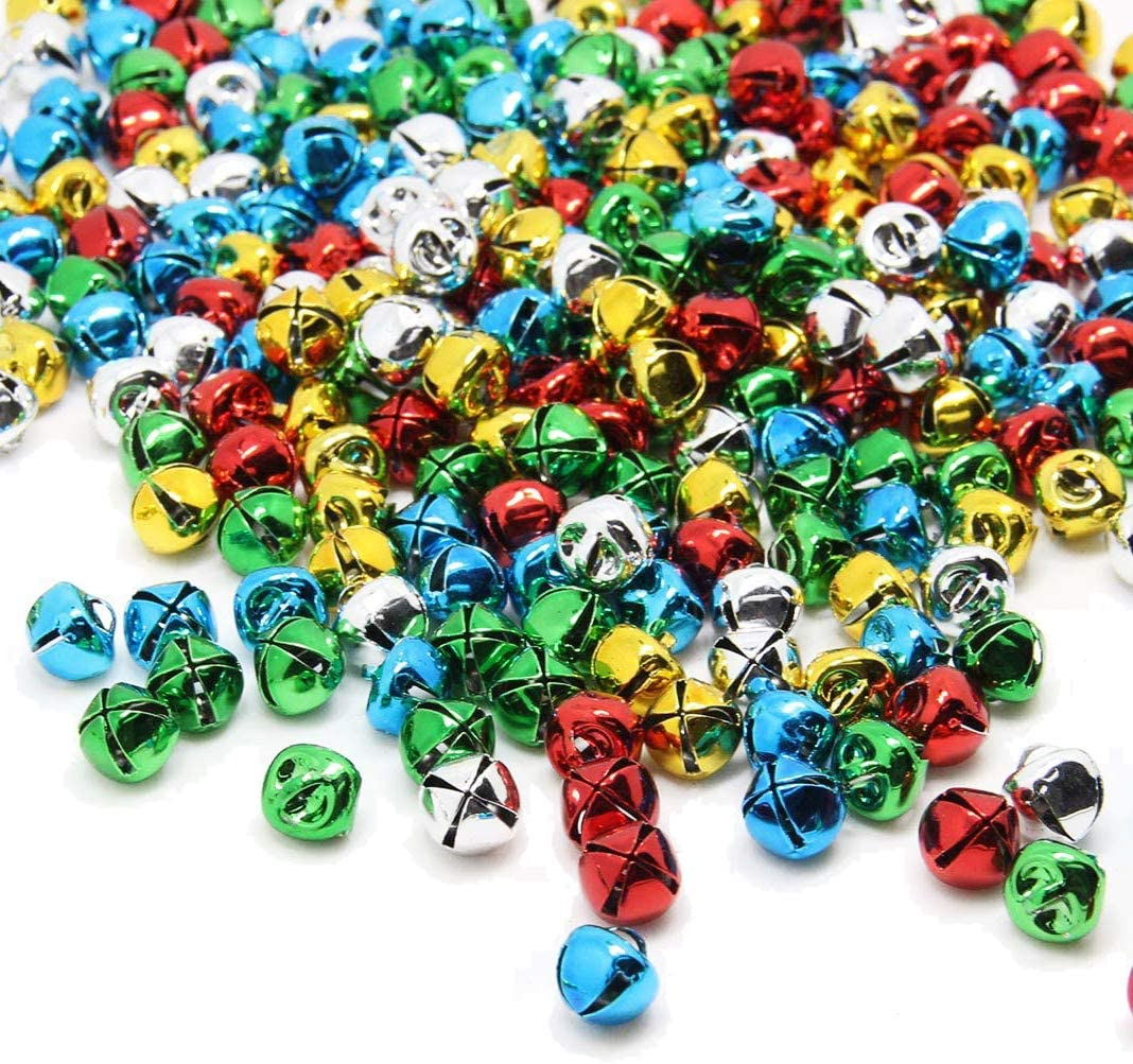 30 mm 6 piece large red and green shiny jingle bell mix LR11