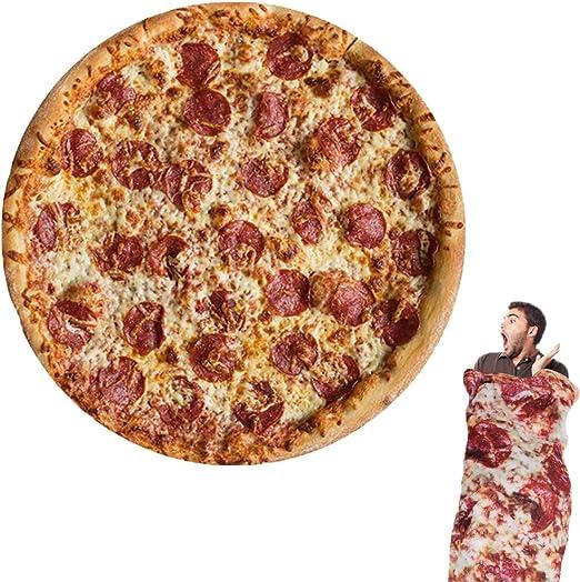Comfort Food Pizza Wrap Blanket Perfectly Round Hamburger Throw Christmas F1