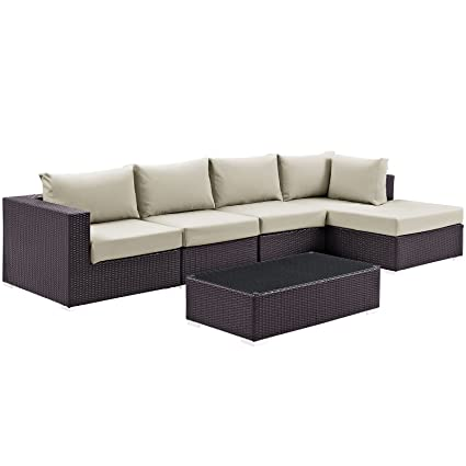 Modway Convene Wicker Rattan 5-Piece Outdoor Patio Sectional Sofa Furniture Set in Espresso Beige