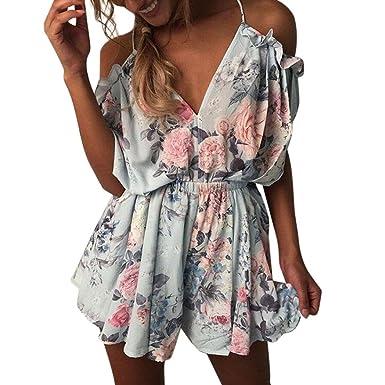 a51ee4b17f7 Amazon.com  WensLTD Women Jumpsuit 2018 Hot Sale! New Women Summer Holiday  Playsuit Jumpsuit Mini Dress  Clothing