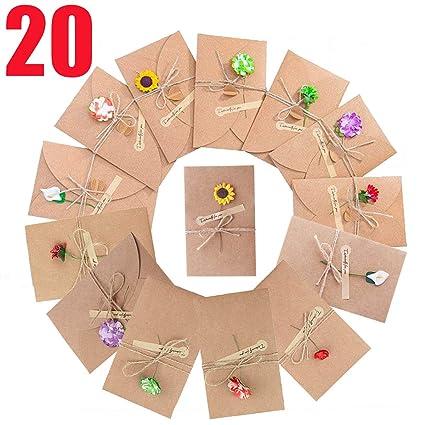 20 Tarjeta Kraft Felicitacion Cumpleaños Bebe Regalo y Sobres Tarjeta Navidad Boda Felicitación Papel (20 pcs)