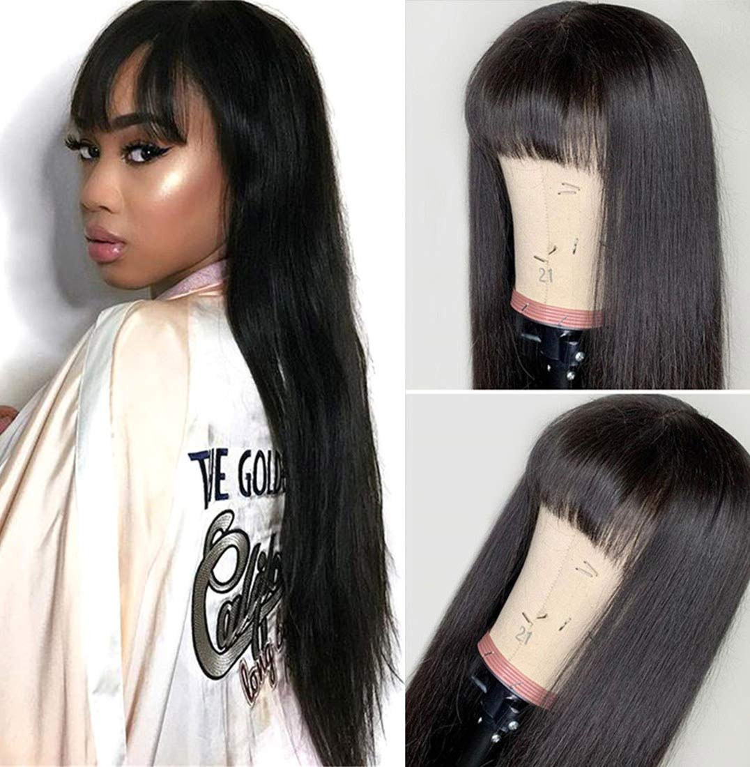 West Kiss Hair Straight Wig With Bangs Human Hair 16 Inch Glueless Machine Made Wigs For Black Woman Replacement Wigs Natural Color (16 inch,wig with free part bangs) by West Kiss