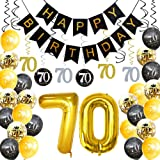 HankRobot 70th Birthday Decorations Party Supplies(42pack) Gold Number Balloon 70 Happy Birthday Banner Latex Balloons…