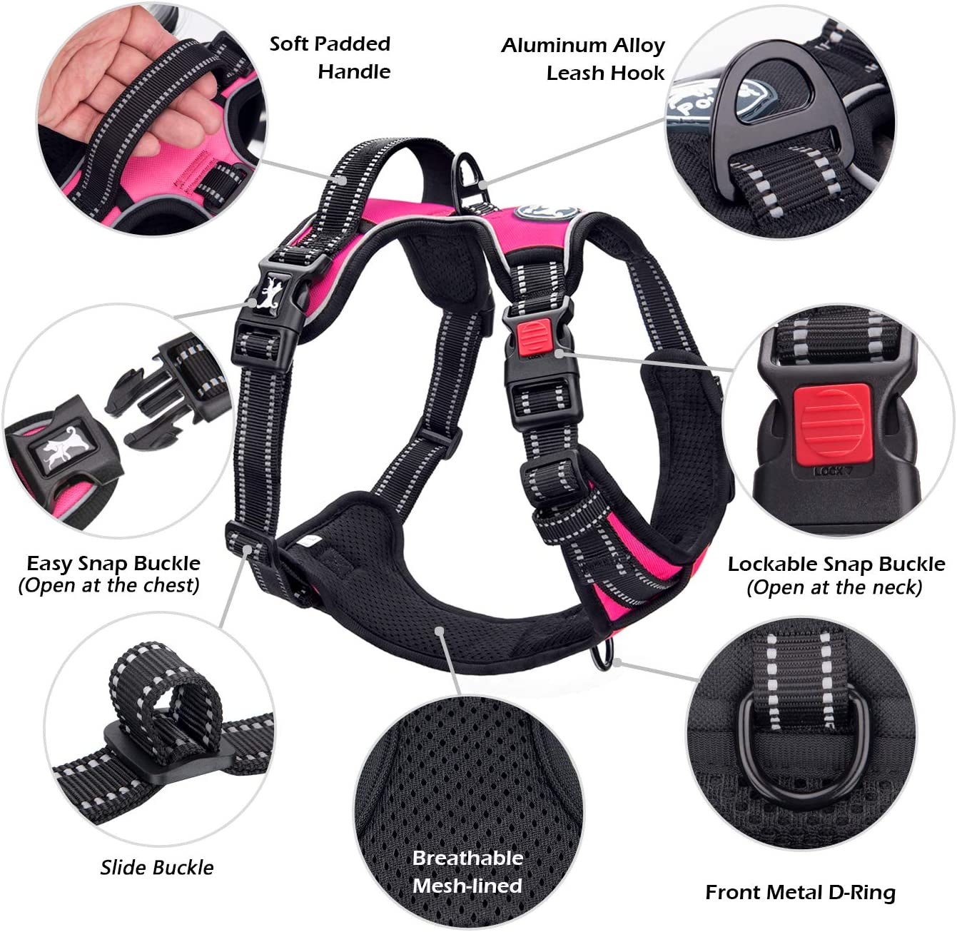 PoyPet-Harness-Reflective-Adjustable-Control