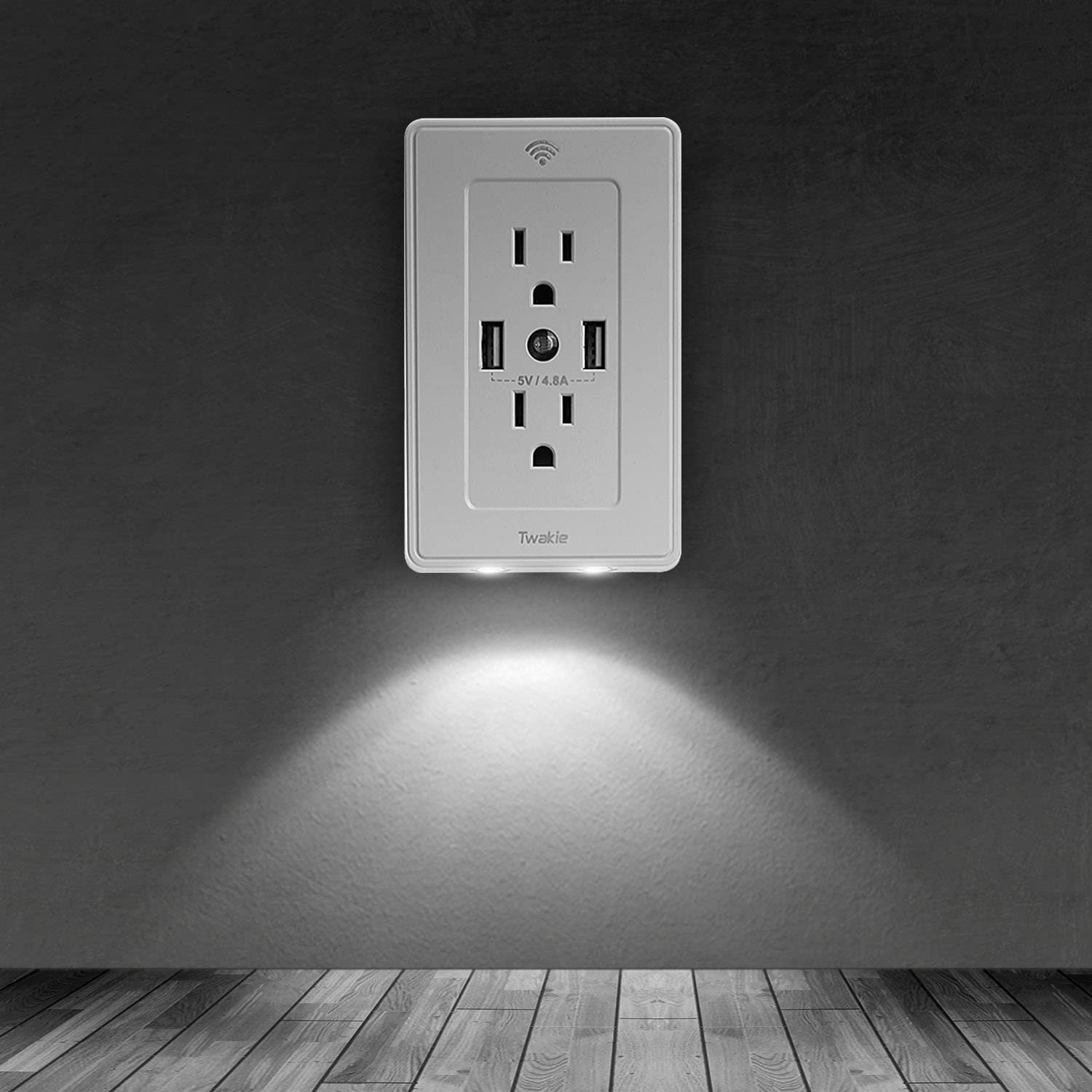Wifi Smart Plug Outlet with 4.8A 2 USB Charger and Night Light Compatible with Alexa Echo Wireless On//Off Outlet Switch Remote Control No Hub Required 15 Amp Surge Protector Receptacle