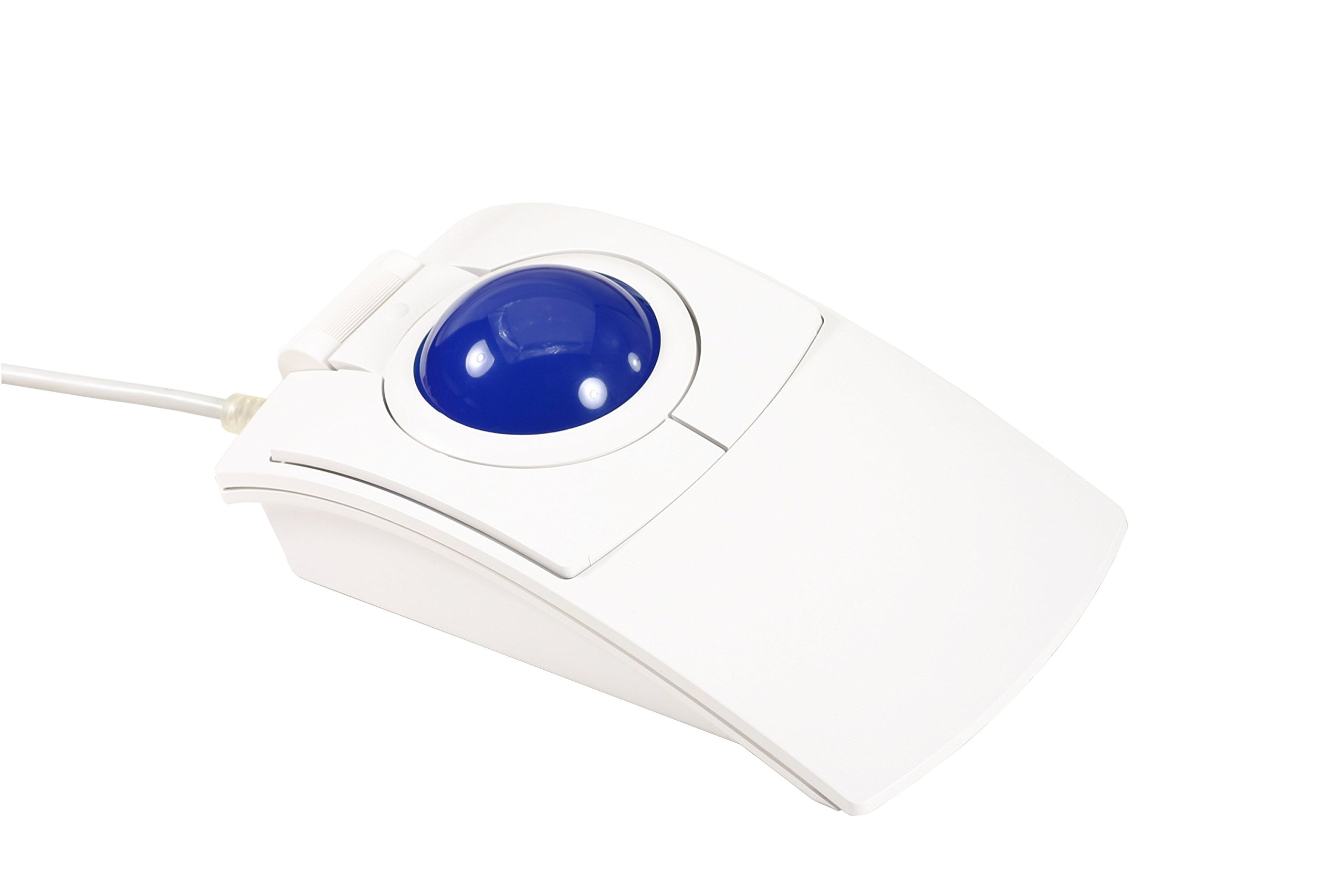 CST2445-5W(GL) (L-Trac Glow Blue) USB Wired Ambidextrous High Performance Laser Ergonomic 5-Button Backlit Trackball (White) - Made in the USA