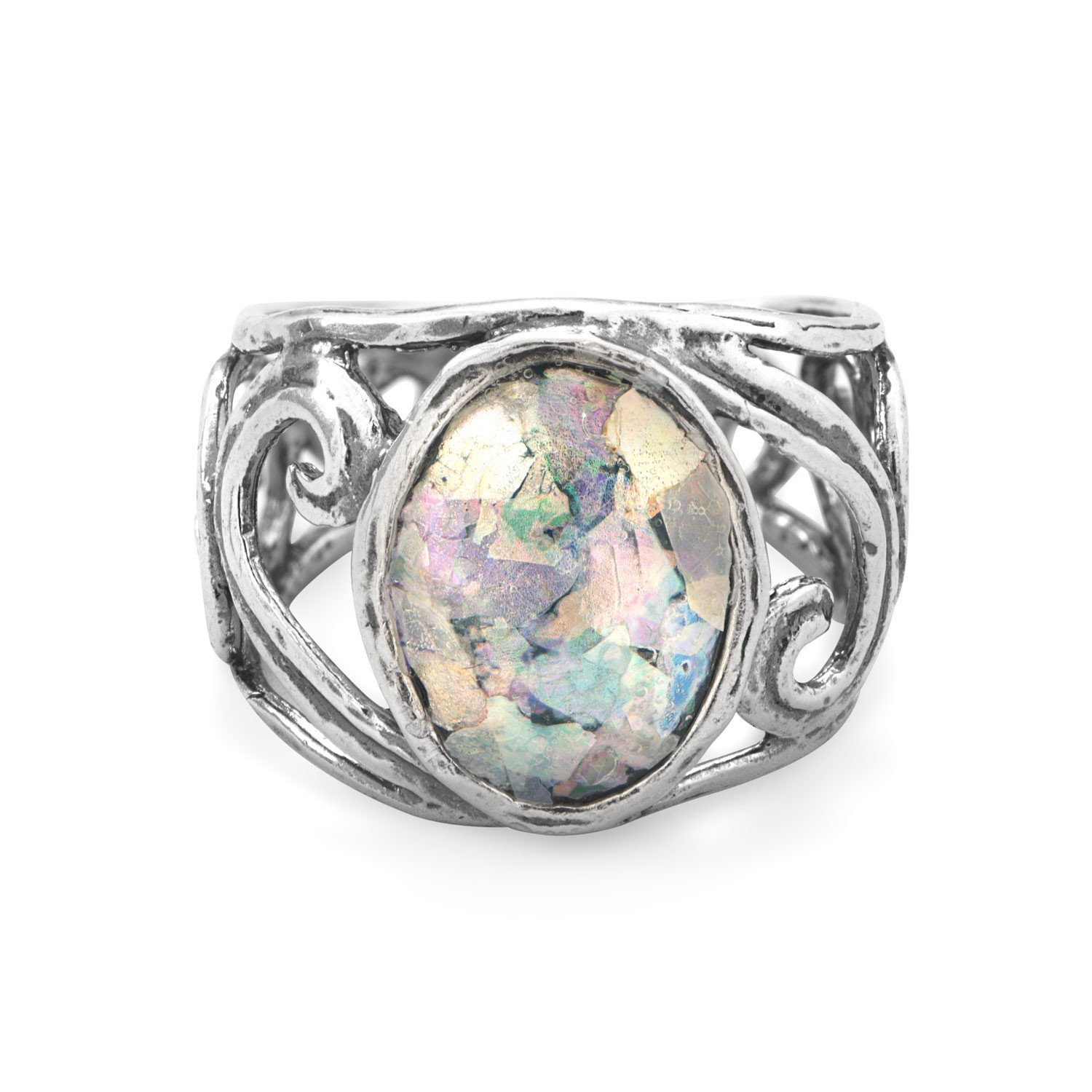 Sterling Silver Cut Out Swirl Design Ring with Roman Glass