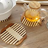 6 Pcs Pack Bamboo Trivets Coasters Set Personalized Fish Shape Multi-Use Heat Resistant Mat for Hot Dishes Pots Pans Kitchen Utensil Tabletop Decorations MSL108