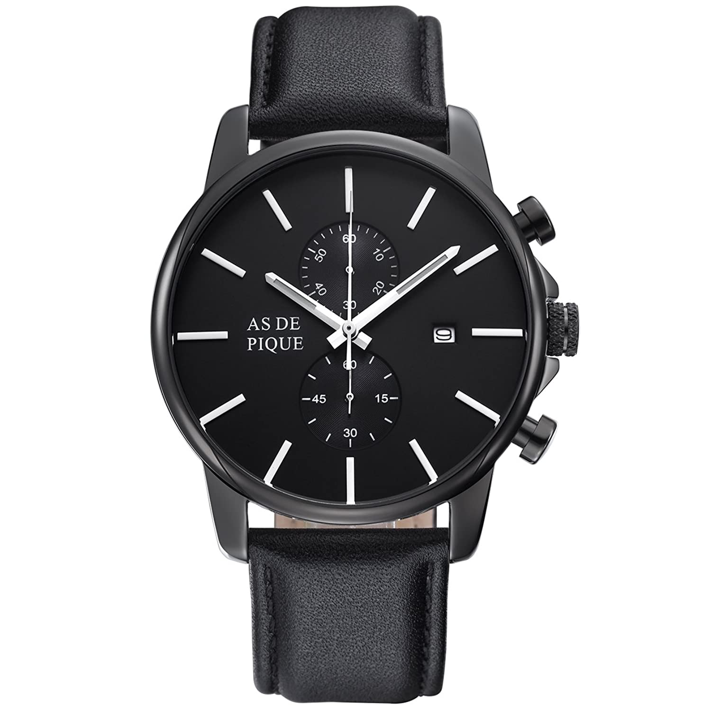 AS DE PIQUE Chrono Herren Luxus Armbanduhr Chronograph Leder Stoppuhr Datum 50m Wasserdicht schwarz