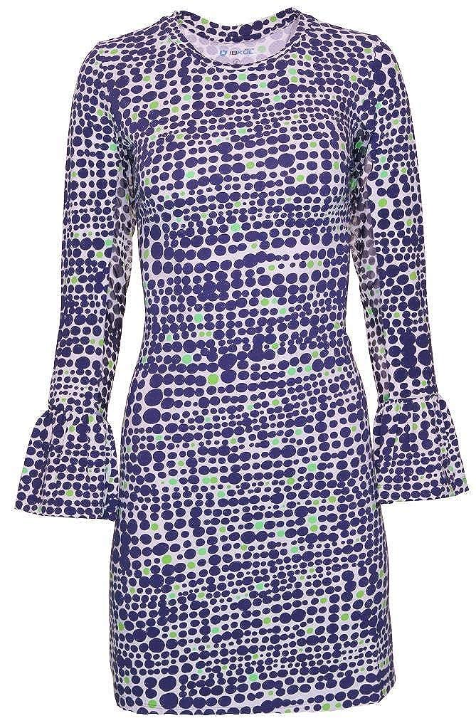Duo Dots Print Bell Sleeve Dress 55071 Final Sale