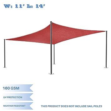 Eu0026K Sunrise 11u0027x14u0027 Red Rectangle Sun Shade Sail Outdoor Shade Cloth UV Block  sc 1 st  Amazon.com & Amazon.com : Eu0026K Sunrise 11u0027x14u0027 Red Rectangle Sun Shade Sail ...