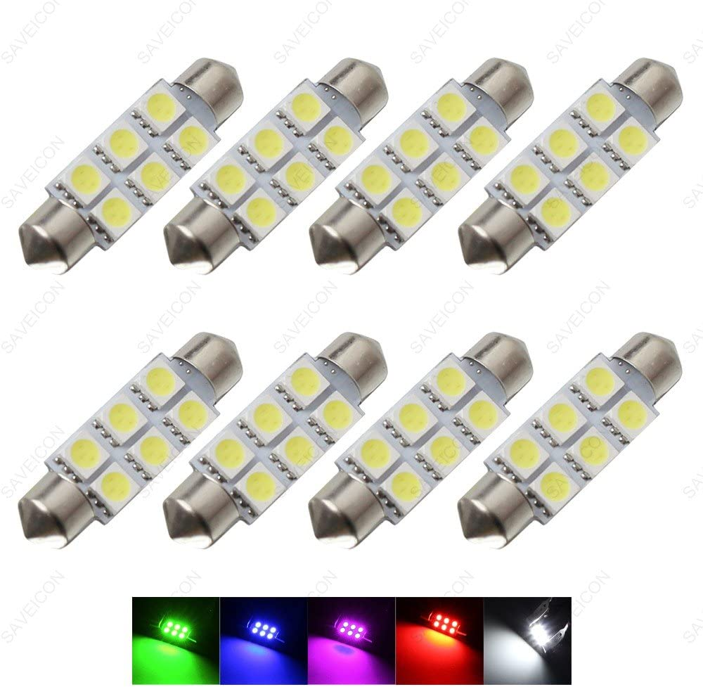 """SAWE - 1.72"""" 42mm 6-SMD 5050 Festoon LED Bulbs For Dome Map Light 211-2 578 (8 pieces) (Blue)"""