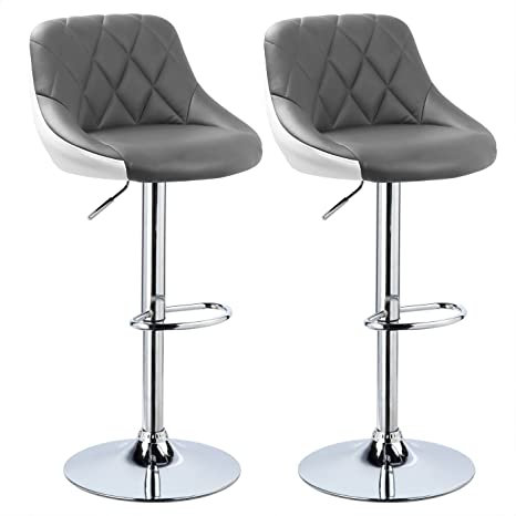 Excellent Woltu Bar Stools Grey White Bar Chairs Breakfast Dining Stools For Kitchen Island Counter Bar Stools Set Of 2 Pcs Leatherette Exterior Adjustable Bralicious Painted Fabric Chair Ideas Braliciousco