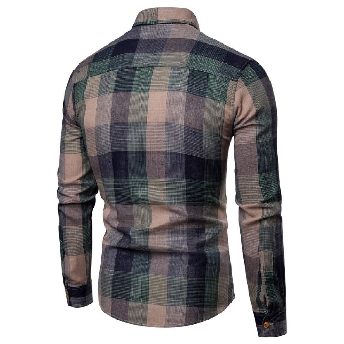 Godeyes Mens Comfort Long Sleeve Plaid Lapel Oxford Shirt