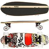 FunTomia Skateboard Monopatín con rodamientos ABEC-11 y Rodillos de dureza 80A - Hecho con 7 Capas de Madera 100% Arce Canadiense o bambú