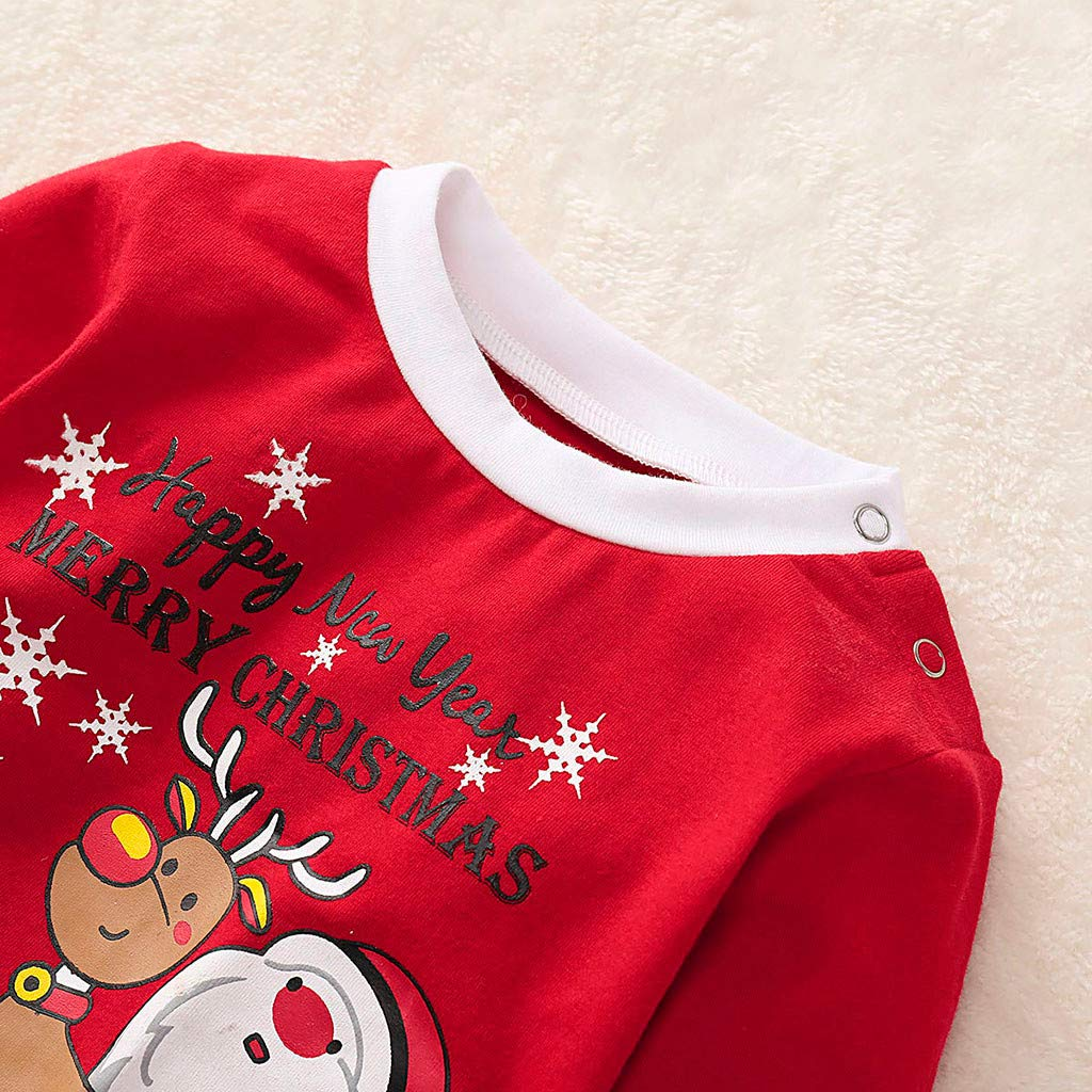 Arelead Ropa Navidad Disfraz Ni/ña Ni/ño Bebe Camisetas con Patr/ón de Pap/á Noel y Renos Pantalones Sombrero