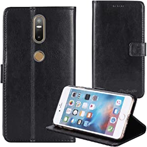 TienJueShi Black Book-Style Flip Leather Protector Case Cover TPU Silicone Etui Wallet for Lenovo PHAB 2 Plus 6.44 inch