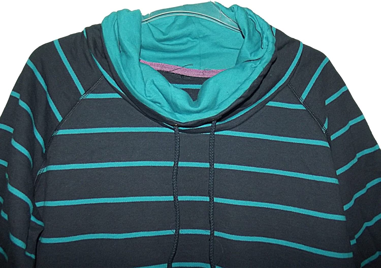 New Ladies EX BHS Blue Stripe Overhead Longline ROLL Neck Sweatshirt TOP 12-16
