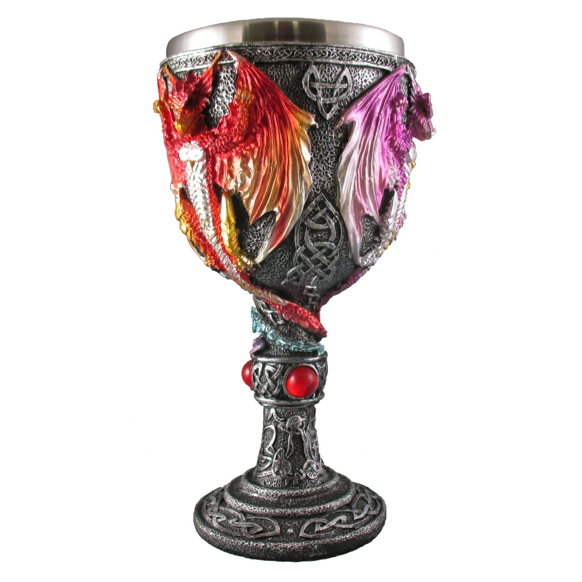 Medieval Renaissance Dragon Goblet, Celtic Drinking Wine Glass, Fantasy Pagan Wicca Chalice, Blue, Red, Purple Mythical Mug Everspring Import Company