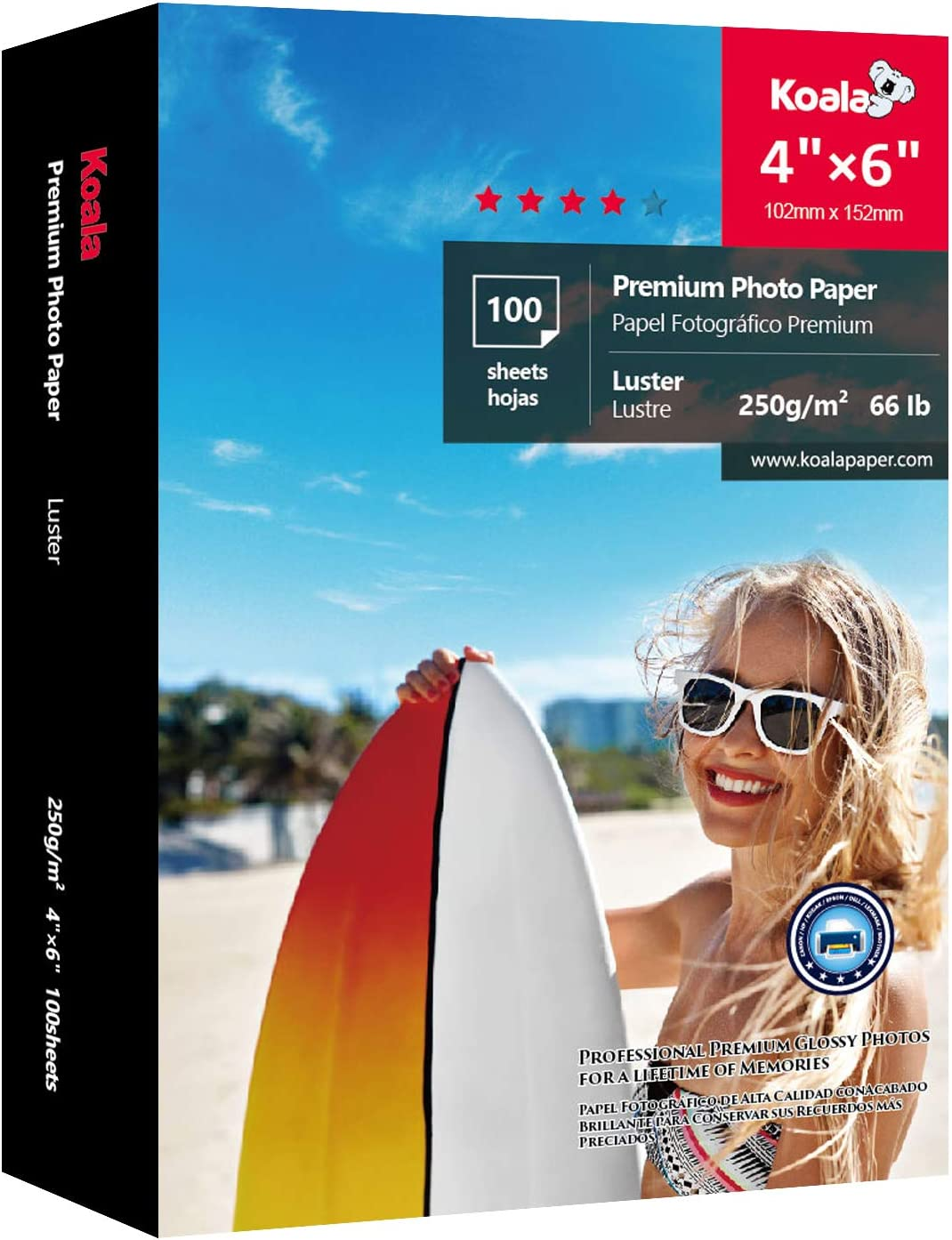 Koala Premium Photo Paper 4x6 Inch Luster Heavyweight 66lb for Inkjet Printer 100 Sheets