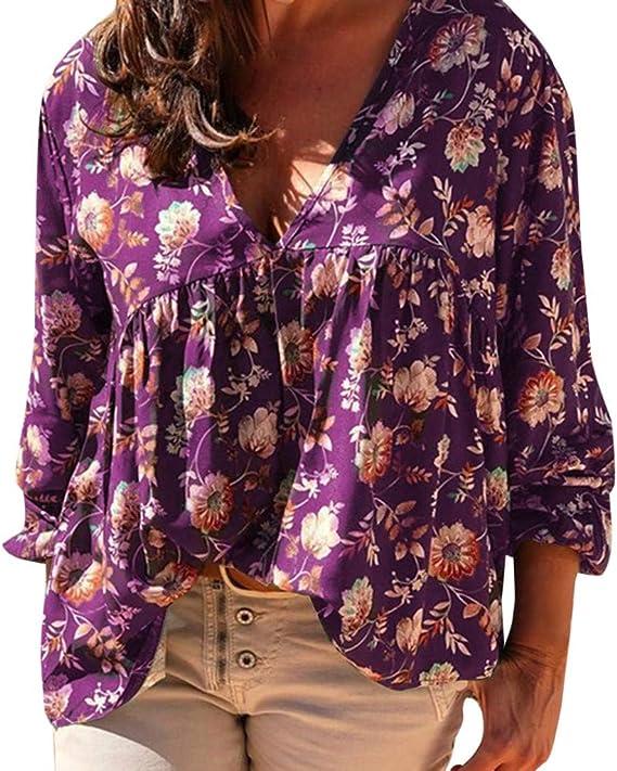 QinMM - Blusa de Cuello en V para Mujer con Estampado Floral Violeta Violeta S: Amazon.es: Hogar