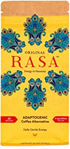 Original Rasa - Organic Herbal Coffee Substitute with Ashwagandha, Chaga + Reishi for All-Daya Energy + Focus - Caffeine-Free, Adatogenic Packed, Vegan, Keto, Whole 30 - 8 Ounce