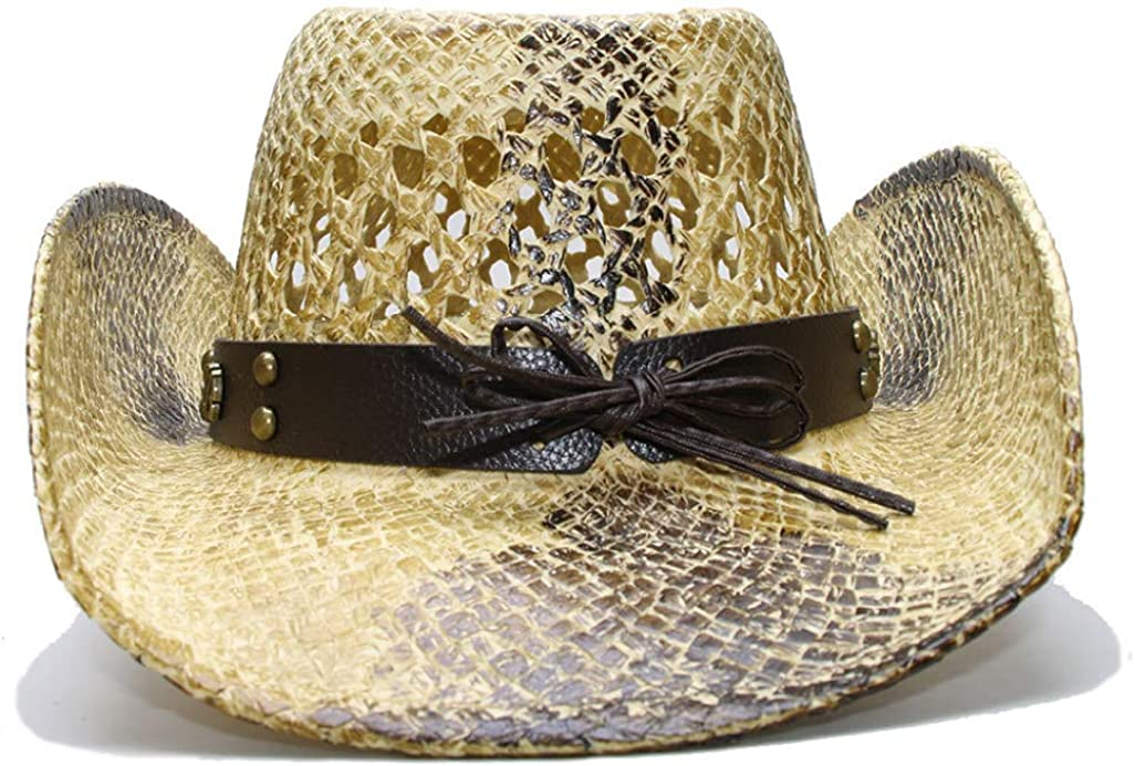Unisex Straw Western Cowboy Hat Outback Beach Sun Hat with Black Punk Leather Band