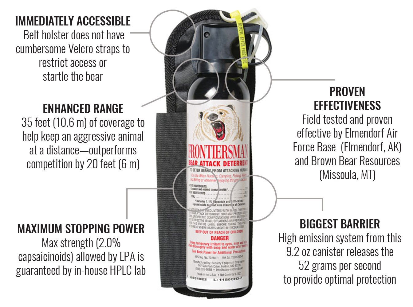 Frontiersman Bear Spray with Chest or Belt Holster– Easy Access, Max Strength - 9.2 oz -Industry Max 35-Foot Range