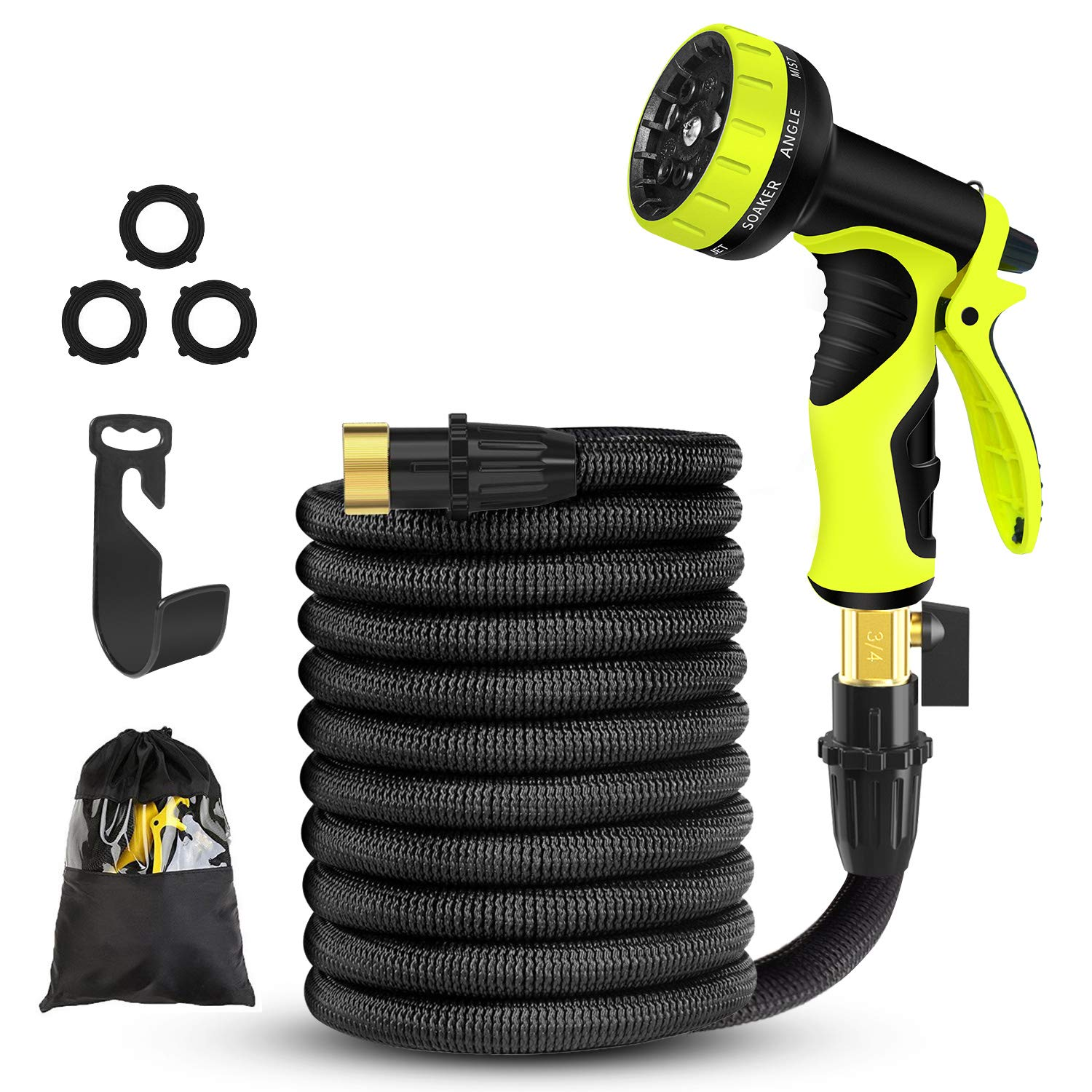 Expandable Garden Hose,50FT Water Hose-Latex Core,Extra Strength Textile,Solid Brass Fittings no Rust&Leak -9 Function Spray Nozzle,Hose Hanger-Best Flexible Expanding Hose for Watering Car (Black)