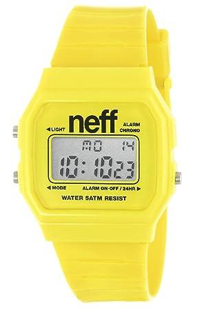 Neff NF0204YLLW - Reloj digital de cuarzo unisex con correa de plástico, color amarillo: Amazon.es: Relojes