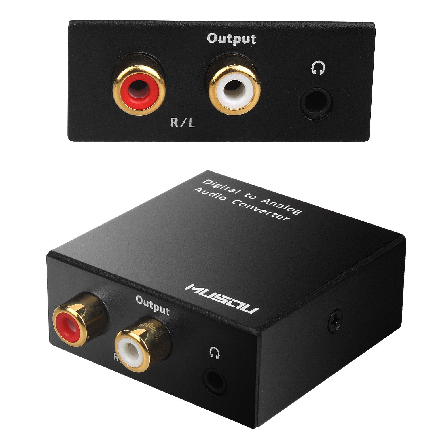 Musou 3.5mm Digital to Analog Audio Converter Optical S PDIF Toslink Coaxial to RCA L R 24 bit DAC with Fiber Cables Black