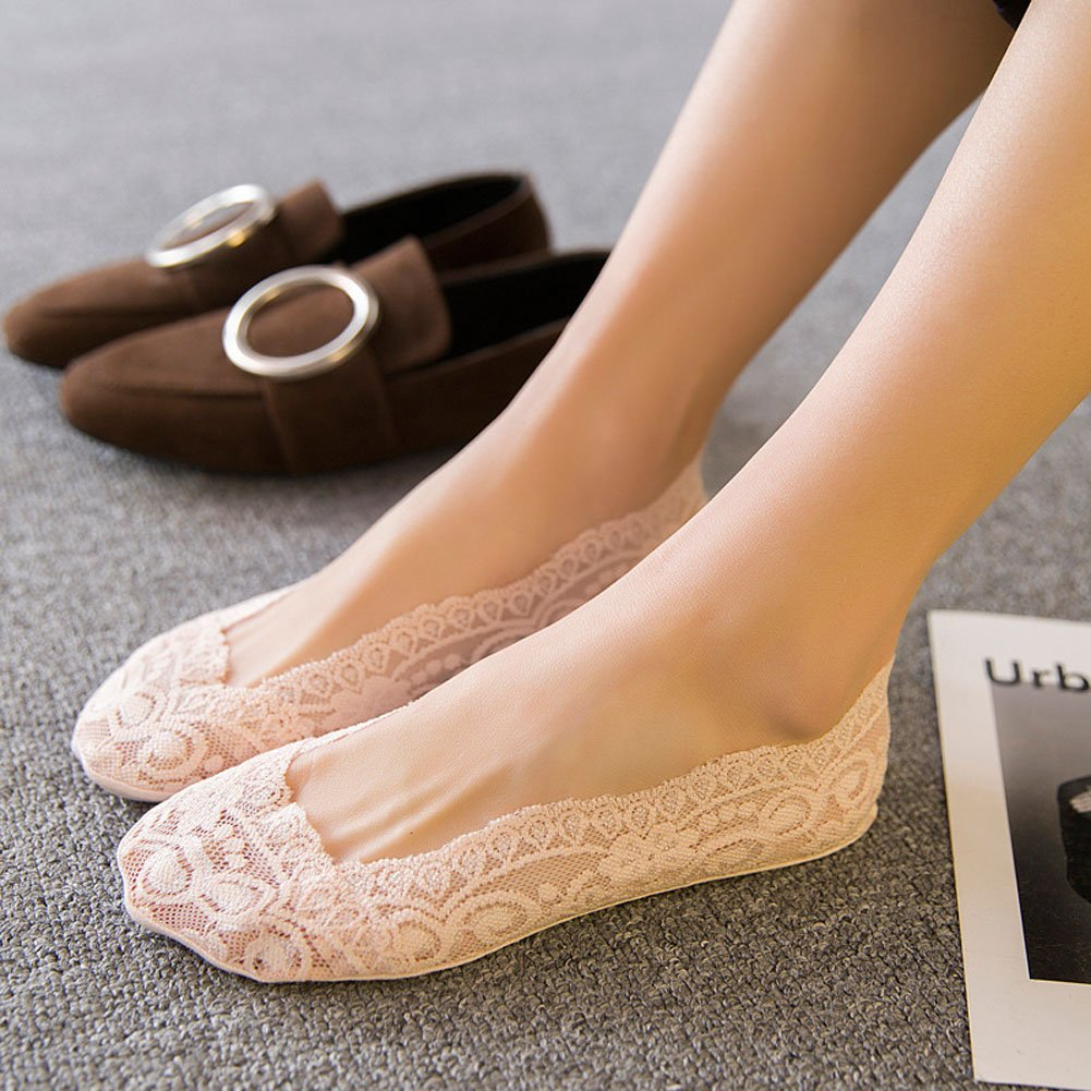 Women\'s Socks 3-6 Pairs Ultra Low Cut Nylon Casual Socks Slip Resistant Socks. (Beige-6)