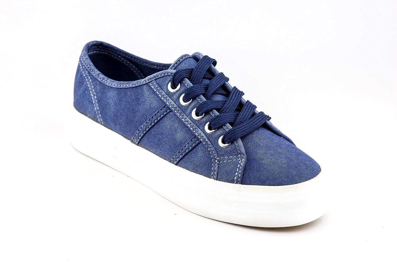 CALICO KIKI Women's Lace up Platform Fashion Sneakers - Casual Canvas Walking Shoes - Easy Fashion Slip On B07CV3H7VJ 7 B(M) US|Blue
