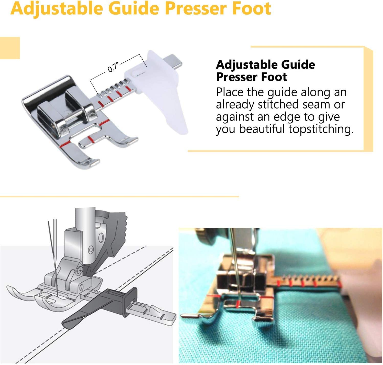 kit per ricamo Singer e altre macchine da cucire con attacco basso Set di piedini per macchina da cucire manuale con piedino per macchina da cucire con guida regolabile RETYLY 1//4 guida per bordo