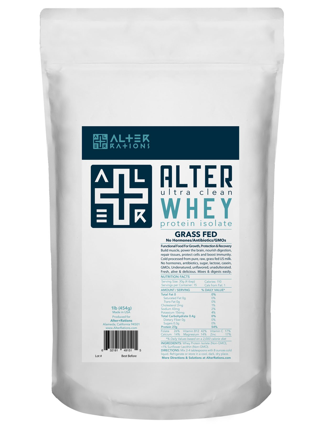 ALTER+WHEY | Ultra Pure Grass Fed Whey Protein Isolate | Cold Processed. Undenatured. Unadulterated. | No Hormones, Antiobiotics, GMOs, Sugar, Additives. | Deliciously fresh & smooth. Mixes instantly. (1 lb)